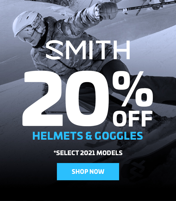 20% OFF SMITH HELMETS & GOGGLES