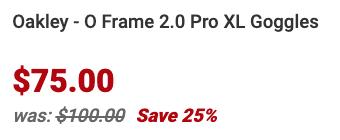 Oakley O Frame 2.0 Pro XL Goggles Info