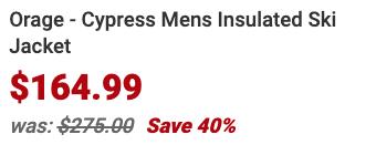 Orage Cypress Mens Insulated Ski Jacket Info