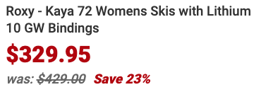 About Roxy Kaya 72 Womens Skis with Lithium 10 GW Bindings
